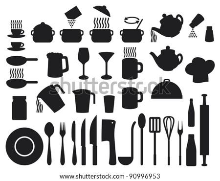 Kitchen icons set (set of icons on a theme kitchen)