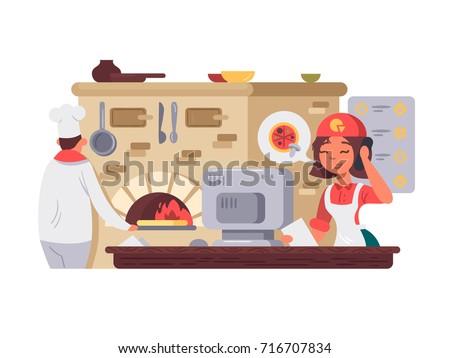 Kitchen in pizzeria. Chef prepares pizza, operator takes order. Vector illustration