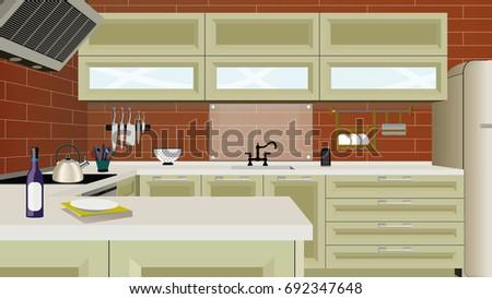 Kitchen Interior Background With Furniture. Design Of Modern Kitchen