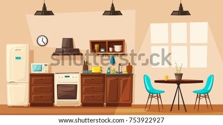 kitchen interior cartoon