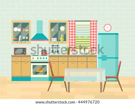 Kitchen Interior Cozy Home Food Cooking And Dining Room Poster Vector Flat Illustration