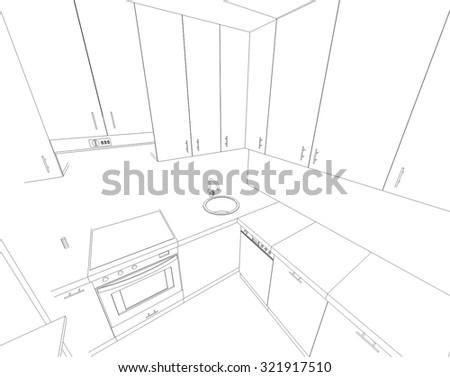 kitchen interior design vector