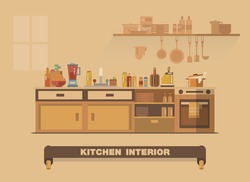 Kitchen interior element , Flat design earth tone art