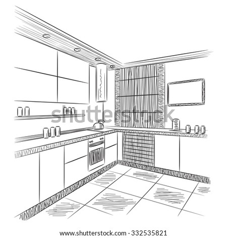 kitchen interior sketch