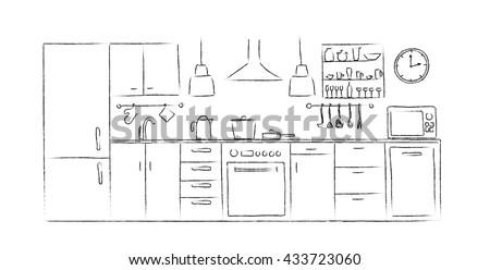 kitchen interior sketches hand