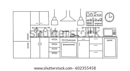 Kitchen interior sketches hand drawing front view. Contour vector illustration kitchen furniture and equipment.