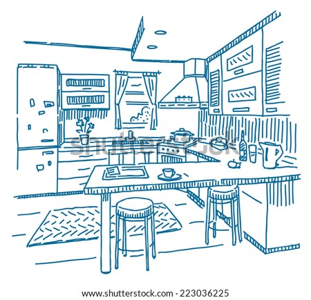 kitchen interior vector drawing