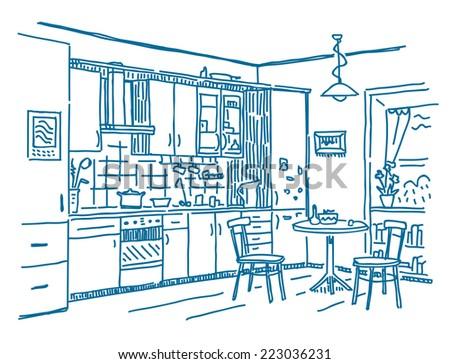 kitchen interior vector drawing