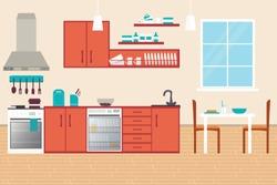 Kitchen Interior, with furniture. Flat style vector illustration.