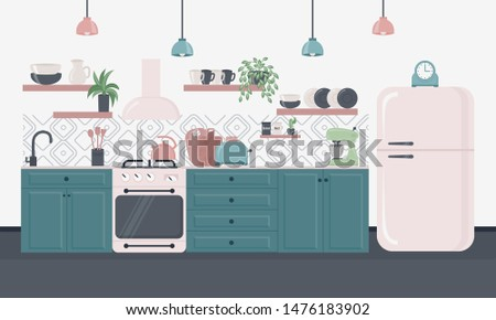 Kitchen interior with furniture. Furniture design banner concept. Kitchen interior inspirational design in loft style. Dining area in the house, kitchen utensils. Illustration slide for furniture site