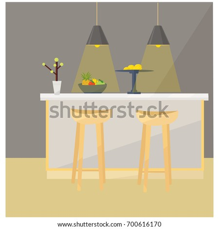 kitchen interior with table bar