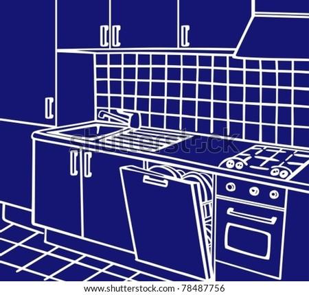 Kitchen isometric line art vector