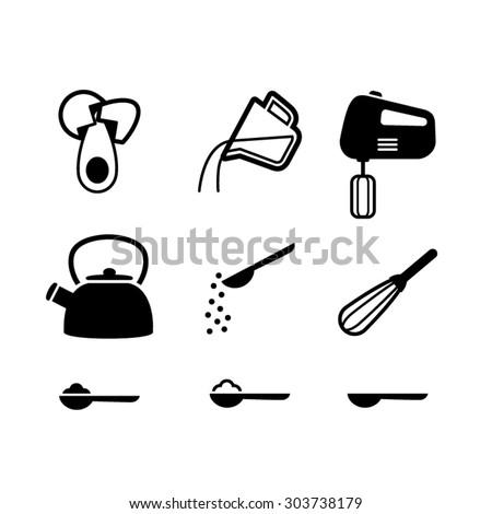 Kitchen items icon set