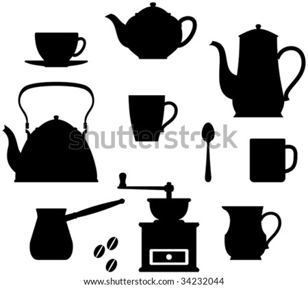 Kitchen items - teapots, coffee pot, cup etc.