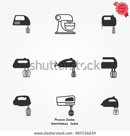 kitchen mixer icons set mixer
