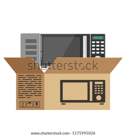 Kitchen open microwave unpacked from the box. Kitchen open microwave on the background of an open box. New kitchen open microwave. Cooking with a microwave. New purchase. Carton packaging flat design