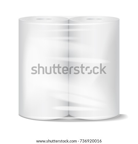 Kitchen paper towel package mockup with transparent wrapping. Vector illustration for your design
