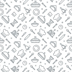 Kitchen Pattern Seamless Vector Texture. Bakery Simple Thin Line Collection.
