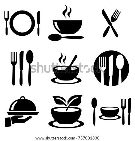 kitchen plates set icons