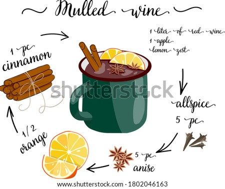 kitchen poster with mulled wine recipe. print for design of menus and notebooks Stockfoto ©
