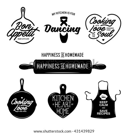 kitchen related typography set