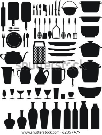 kitchen/restaurant elements (black) - stock vector