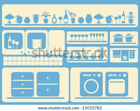 Kitchen room and home objects set. Vector illustration.