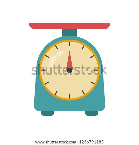 Kitchen Scale Icon. Kitchen measuring device. Vector weight scale icon on a white background. Vector illustration.