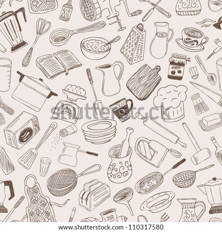 kitchen seamless background - stock vector