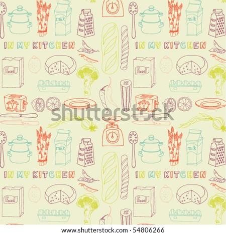 kitchen seamless pattern