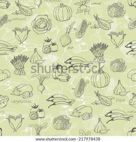 Kitchen seamless pattern with a variety of vegetables on light green background. Vector illustration