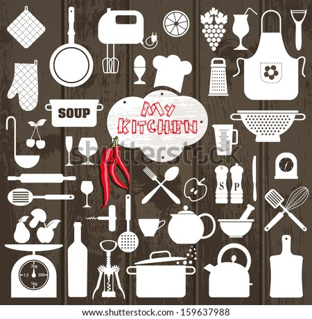Shutterstock Kitchen set icon.