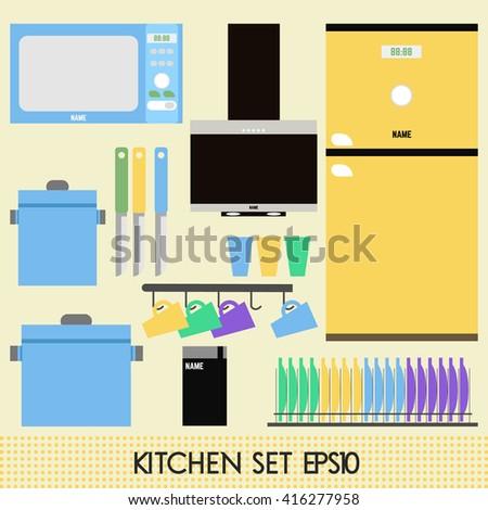 kitchen furniture names. Kitchen Set. Furniture. Appliances. Modern Furniture And Pastel. Microwave, Refrigerator, Range Cooker Hood, Names S