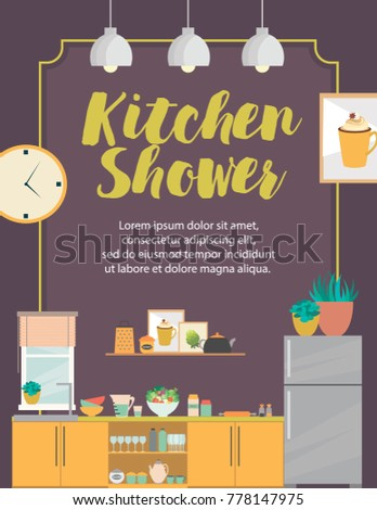 Kitchen Shower card with furniture and cooking devices. Cartoon realistic flat design of kitchen. Vector illustration