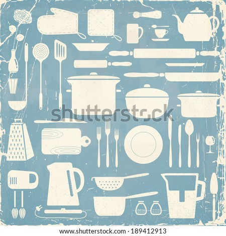 Kitchen silhouette set, eps10 vector pattern.