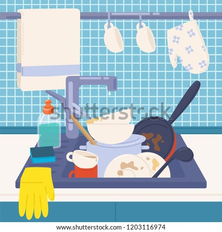 Kitchen sink full of dirty dishes or kitchenware to wash, detergents, sponge and rubber gloves. Messy house. Manual dishwashing or home cleaning. Colorful vector illustration in flat cartoon style.