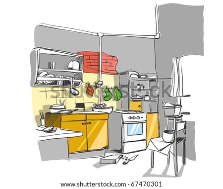 Kitchen Design Sketch on Kitchen Sketch Stock Vector 67470301   Shutterstock