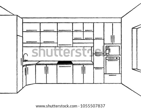 Royalty Free Draft Of Kitchen Kitchen Interior 98323235 Stock