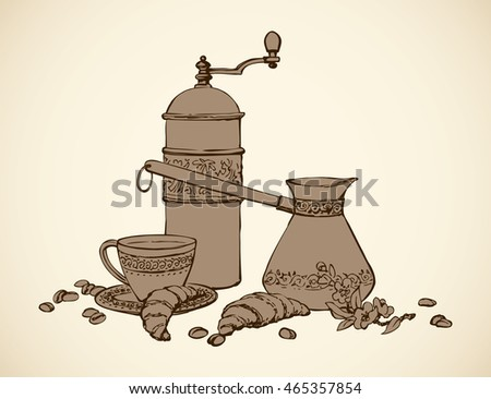 Kitchen Still Life Of Bagel Percolator And Fresh Hot Brazil Chocolate Cocoa Isolated On White