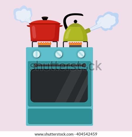kitchen stove flat style...