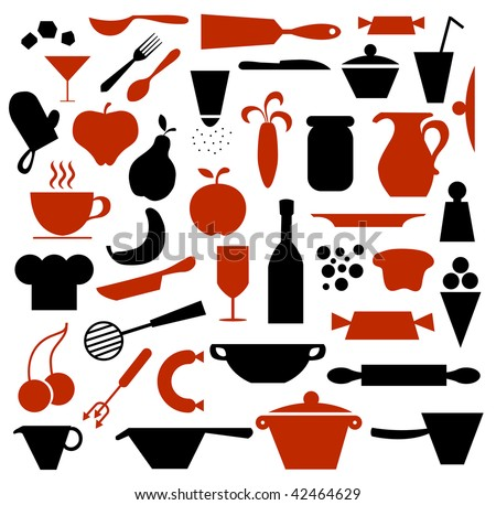 Kitchen supplies and food icons.