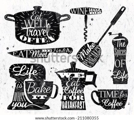 Kitchen symbol in retro vintage style lettering pan cup, knife, mixer.