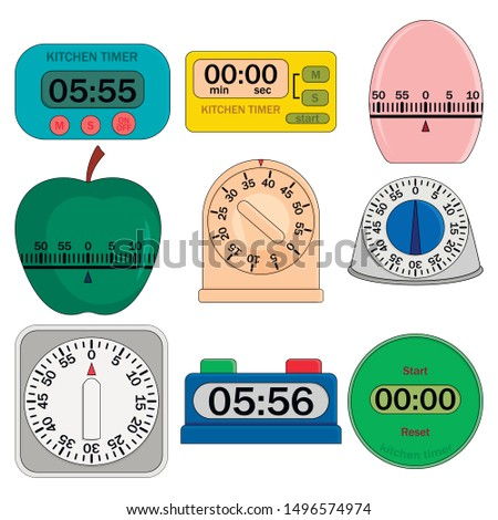 Kitchen timer set. Flat illustration of 9 kitchen timer icons for web. Flat illustration of kitchen timer vector mockup. Digital and analog displays, kitchen timer, flip clock.