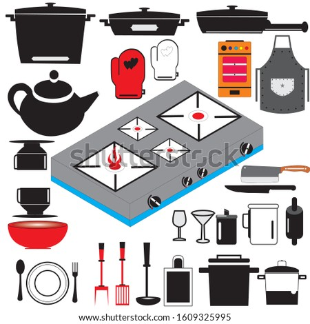 Kitchen tool flat icon collection. Kitchenware collection. Vector illustration.