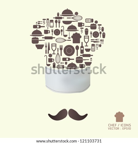 Kitchen tool icons on chef hat concept / can be used for infographics / graphic or website layout vector/Horizontal