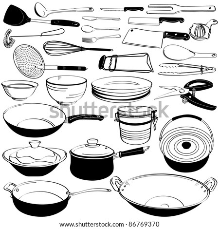 Kitchen Tool Utensil Equipment Doodle Drawing Sketch Stock Vector
