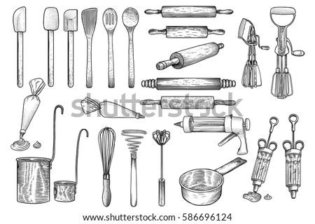 Kitchen, tool, utensil, vector, drawing, engraving, illustration