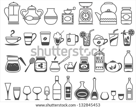 kitchen tools and utensils Vector illustration White areas are cut out