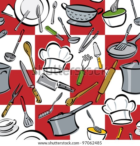 Kitchen Tools Check Seamless Pattern Of Common Utensils Used For