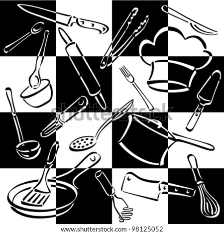 Kitchen Tools Checkerboard Pattern Of Commonly-Used Utensils And